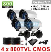 4pcs a lot CCTV video Surveillance security Cameras CMOS 800tvl with IR CUT 960H 24pcs IR waterproof indoor/outdoor camera