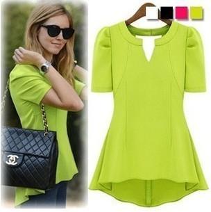 Lady'S Elegant Neon Color Elengant Slim V-neck Puff Sleeve Chiffon Top Blouse T-shirt