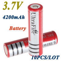 10PCS/LOT ultrafire 18650 3.7V Rechargeable Battery 4200mAh   for LED Flashlight,Free Shipping