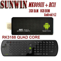 MK809III android 4 2 2GB RAM 8GB ROM mini pc 3188 quad core HDMI TV stick with free RC11 android smart tv fly mouse keyboard