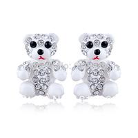 2014 New Fashion jewelry cute Teddy Bear Rhinestone silver stud earrings for women free shipping