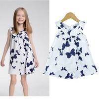 Free shipping 100% Cotton Next Girls Summer Dress Little Childres One-piece Sleeveless Princess dress for kids girl party dress