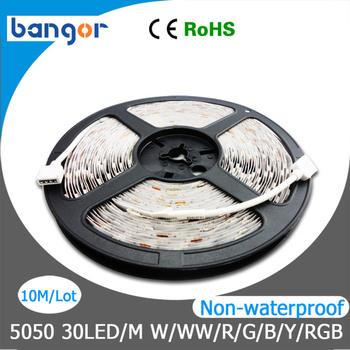 12V Non-Waterproof 5050 LED Strip Light 30LEDs/M 10M/Lot 5M/Roll Free Shipping