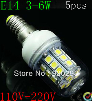 5pcs Free Shipping E14 E27 G9 3W 5W 6W 5050SMD LED Light Bulb White / Warm White 220V Corn Light spotlight LED Lamp bulbs