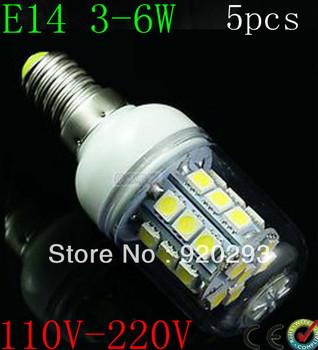 5pcs Free Shipping E14 E27 G9 3W 5W 6W 5050SMD LED Light Bulb White / Warm White 220V Corn Light spotlight LED Lamp bulbs