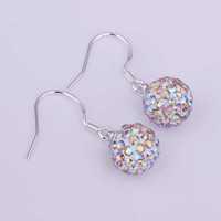 Free Shipping 925 Silver Earring,Shamball Disco Ball Bead,Fashion Earrings SBE042