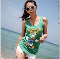 Free Shipping 2013 Women Summer New Top Korean Slim Casual Vest Girl Cute Cartoon Prints Sleeveless T-shirt 6073