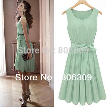 New Women Sleeveless Pleated Slim Fit Chiffon Vest Dress 032L