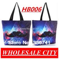 Star Triangular Female Korean Shopping Canvas Shoulder Bag Chaplin Sexy  Beard Mustache Handbags HB006