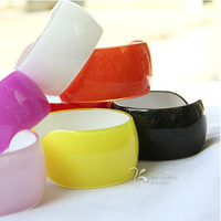Free shipping good quality  women's plastic cuff bracelet bangle with glitters 3.5 wide dia. 6.5 all color Wholesale