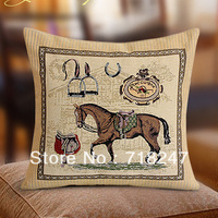 Free Shipping New Fashion Decorative Polyester Cotton Jacquard Retro Cushion Cover Unique Novelty Horse Throw Pillow Case