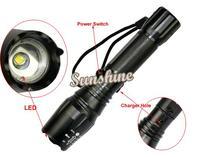 3pcs/Lot New 1000 Lumen Zoomable CREE T6 LED Flashlight Torch 12W Lamp Light Black Wholesale&Retail B2 TK0151