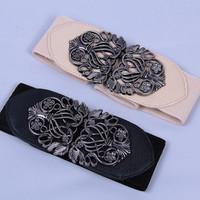 Vintage elastic belt laies thick buckle ladies belts  for women