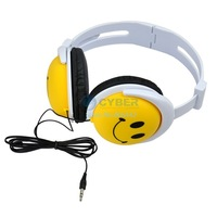 Fashion Cute Smiling Yellow Smile Face Earphones Headphones Headset for Computer MP3 PSP DJ 6516 SV16