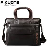 high quality england fashion business casual natural Cowskin Genuine leather men handbag shoulder bag