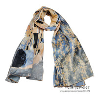 "100% Luxurious Satin Charmeuse Silk Scarf Painting Gustav Klimt's ""The Kiss"" 1907 Hand Rolled Edges Long Scarf Shawl Gray/Beige"