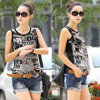 2014 Plus Size fashion Summer Cutout Lace And Chiffon T-shirt Basic Small Slim Vest Shirt Large Size Women's Tops