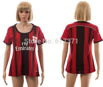 2014 2015 AC Milan home red/black soccer jerseys new season female's football club uniform girl's thailand quality sports shirts