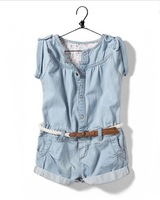 yccz1 new 2014 denim overalls for girls jumpsuit girl clothing 2-8 age brand kid overall free shipping 5pcs/ lot