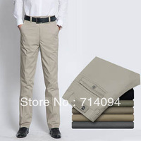 Hot  male casual pants overalls male 100% cotton loose slim straight commercial free shipping