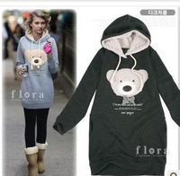 2013 NEW hoodie long top pullover/ winter coat/garment coat/women's coat/hoodie Cute teddy bear W0001