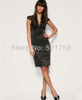 Free Shipping Cocktail Dress Evening Dress Applique Lace Dress Pencil Dress Beige / Black F-DH145