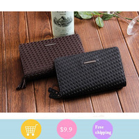 Long single pull purse embossed men handbags men's leather men handbag