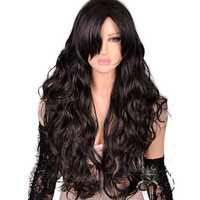 Free Shipping Women Lady Synthetic Hair 75cm Long Wavy Black Gothic Lolita Cosplay Wig