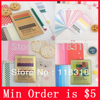 Min Order is $5,(1 lot=27 pcs)DIY Scrapbook Paper Decorative ribbons Stickers Decoration Party Sticker Paper