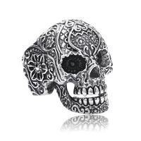 BEIER High Quality Cheap  925 sterling silver punk retro biker skull finger ring men GaBala free shipping