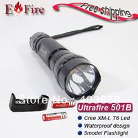 Free shipping UltraFire Flashlight 501B T6 1300 Lumens CREE XM-L LED T6 501B Flashlight Torch+ 2*3000mah 18650 Battery + Charger