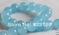 Free Shipping!10 mm,Natural Stones,Aquamarine color Stone Loose Beads,jade Chalcedony Round Beads,DIY Jewelry Making,114 pcs/lot