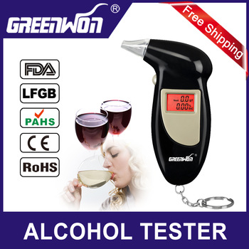 2014 police Use alcohol tester Personal Key Chain LCD Digital Alcohol Tester Breath Analyze With Red Backlight Free Shipping