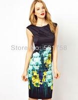 British Style Spring and Summer Women's Elegant Black/Blue Floral Print Slim Tight Dress F-DQ159 Free Shipping UK8-UK16