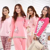 Women cotton long-sleeve pajamas women's sleepear cartoon character ladies panty and shirt lounge nightwear twinset