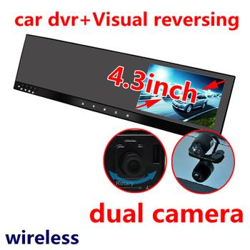"HD Car DVR Night Vision car video dual camera,4.3"" TFT monitor,before the camera records+visual reversing"