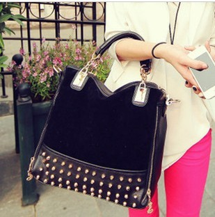 2013 Fashion Korean Leather Handbag Women Tote Bag Stub Bag Punk Rivet Bag,High Quality New Hand Shoulder Bag Messenger Bag(China (Mainland))