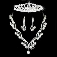 free shipping fashion new arrived wedding bridal jewelry sets, crown,necklace and earrings, silver plated, item: CR003