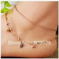 Free shipping ! Fashional Double Layer Rose Gold Stainless Steel Anklet With Manual Diamond Beaded Foot Jewelry