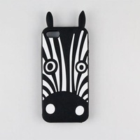Marc Creatures Fashion 3D Cartoon Cute Cat Dog Owl Zebra Silicone Case for iPhone 4 4G 4S 5 5G 5S  1pcs/lot