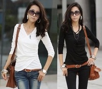 Free Shipping New 2013 Autumn -Summer Cotton long-sleeved woman t shirts big size plus M,L,XL Hot Selling J001