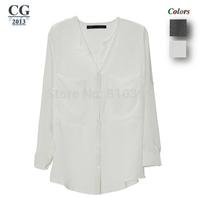 Women's Summer Fashion Casual Chiffon Shirts Long Sleeve White/Black Blouses Tops For Women Freeshipping#CGS002