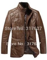 On Sale 2014 Fashion Mink Fur Detachable Collar Genuine  Leather Down Jacket Sheepskin Outerwear Coat For Men