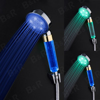 LED Temperature Control Romantic 3 Colors Light Bathroom Shower Head led pole shower B-1006
