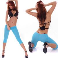 6colors sexy women's solid elastic short leggings low waist slim thin panties blue white black yellow pink beige 378