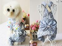Hot Fashion Pet Clothes Dog Puppy Teddy Snow Flake Jeans Bib Pants Trousers S M L XL XXL