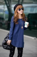 2013 spring slim medium-long basic shirt o-neck sweater  twisted women's outerwear