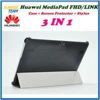 2013 Newest Huawei Mediapad 10 Link 10 FHD 10.1 inches100% Original Four folds Protective case + Screen Protector + Stylus