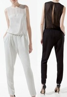 Fashion Woman Jumpsuit Sexy White Rompers Autumn-Summer Open Back Overalls for Women New 2013 Chiffon See-Through Bodysuit