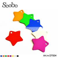 ( 200pcs/lot) star shape aluminum pet tag,size 36*36*1mm,frree shipping,mixed colors